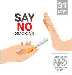 World no tobacco day for say no smoking concept vector