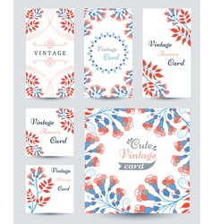 Elegant cards with decorative multi colored flower vector