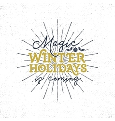 Magic winter holidays christmas typography label vector