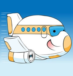 Cheerful cartoon airplane vector