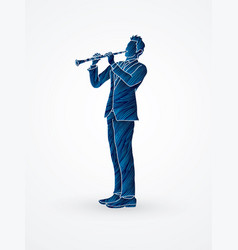 Clarinetist player a man play clarinet vector