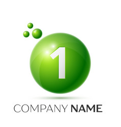 number one splash green dots and bubbles number vector image
