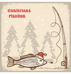 Christmas fishing card with fish in red santa hat vector