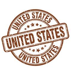 United states brown grunge round vintage rubber vector