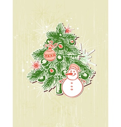 Christmas background with green paper fir vector
