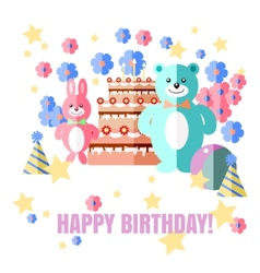 Happy Birthday card with sweets gifts and balloons vector image