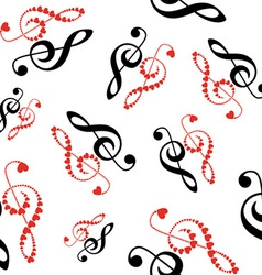 Hearts violin clef seamless vector