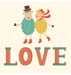 Cute valentines day card with cute happy sheeps vector