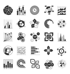 Business chart black and white set vector