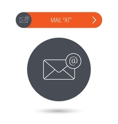 Envelope mail icon email message with at sign vector