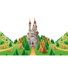 Medieval castle in the land vector