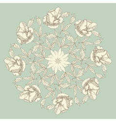 Ornamental round with peonies vector