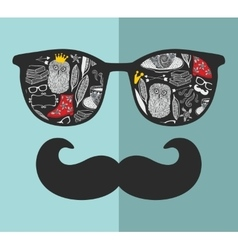 Abstract portrait of retro man in sunglasses with vector image