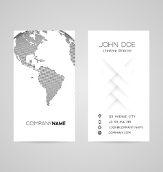 Business card with abstract dotted earth world vector