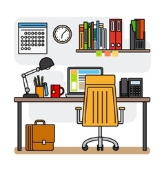 Designer office workspace with computer vector