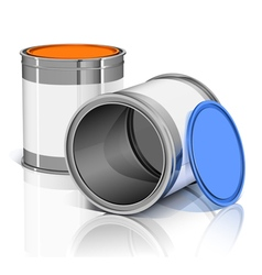 Two metal cans with colored lids and reflection vector