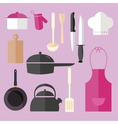 Cooking icon set object in pink kitchen chef hat vector