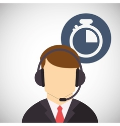 Call center design customer service icon flat vector