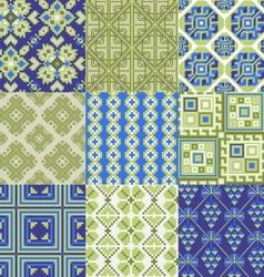 9 retro seamless ornaments vector image vector image