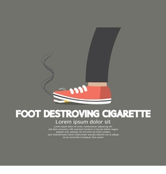 Foot destroying cigarette vector