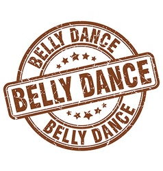Belly dance brown grunge round vintage rubber vector