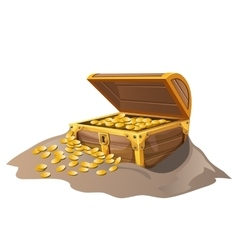 Open wooden pirate chest in sand with golden coins vector