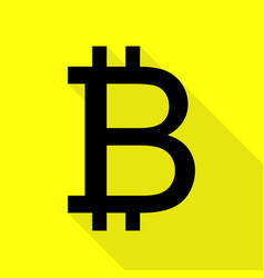 Bitcoin sign black icon with flat style shadow vector