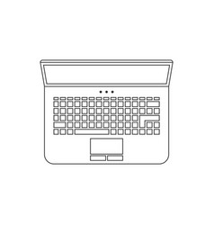 black thin line laptop icon vector image