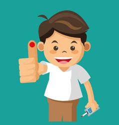Boy diabetes drop test vector