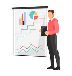businessman by whiteboard vector image vector image