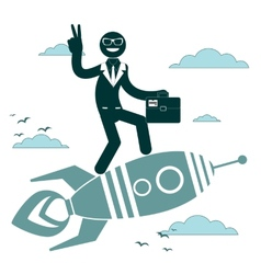 Businessman on a rocket pointing and showing vector image