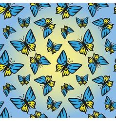 Butterfly blue-yellow seamless texture vector