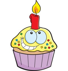 Cartoon cupcake with a candle vector