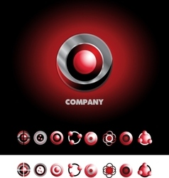 Circle sphere logo icon set vector image vector image