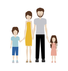 Color silhouette family and dad with beard vector