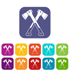 Crossed axes icons set vector