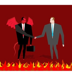 Deal with devil Businessman and make a deal demon vector image vector image