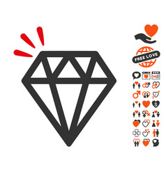 Diamond crystal icon with love bonus vector