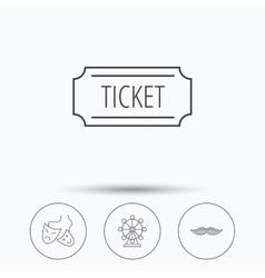 Ferris wheel ticket and theater masks icons vector image vector image