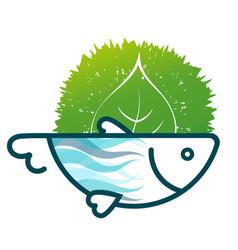 fish eco symbol vector image vector image