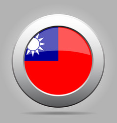 Flag of taiwan shiny metal gray round button vector