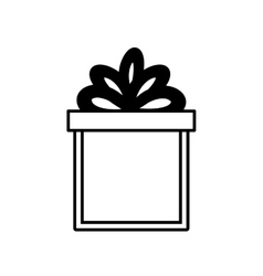 Gift box ribbon wrapped surprise linear vector