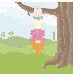 Girl hanging upside down on the tree and reading vector