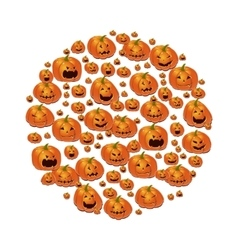 Halloween with pumpkins vector