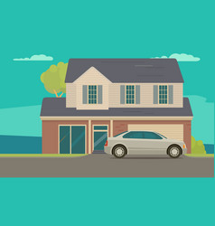 house and car near garage flat style vector image vector image