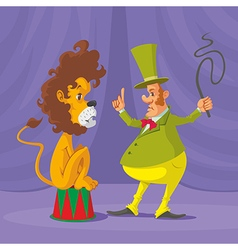 Lion and tamer vector