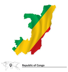 Map of republic of congo with flag vector