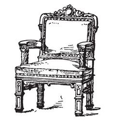 Medieval arm chair vintage vector