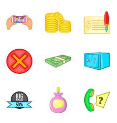 Monetary diversity icons set cartoon style vector