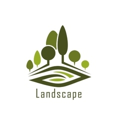 Park landscape icon with alleys and lawn vector